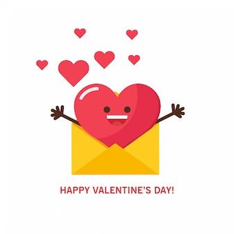 Rood hart voor de groeten en de kaart van de valentijnsdag