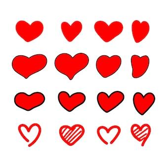 Rood hart vorm als liefde symbool set met verschillende hand getrokken stijl geïsoleerd op een witte achtergrond