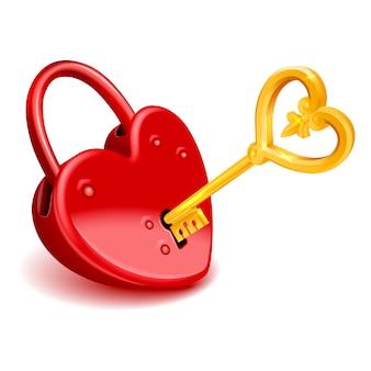 Rood harthangslot met gouden sleutel die op witte achtergrond wordt geïsoleerd