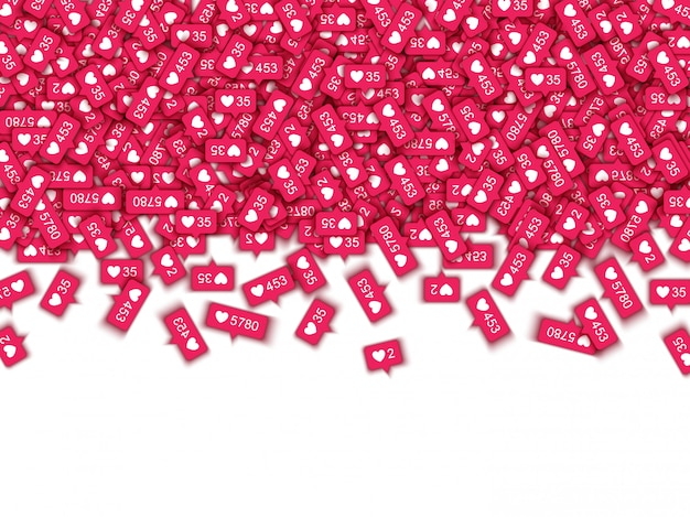Rood houdt van tellersymbolen in sociale media - classificatiepictogrammen van meldingen met hartvormen en -hoeveelheden.