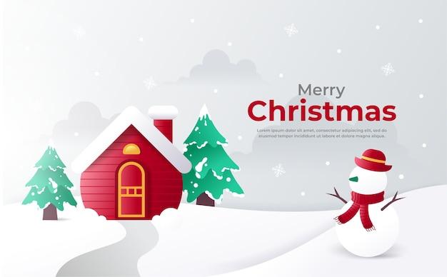Rood huis en sneeuwman