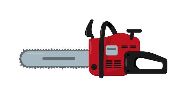 Rood kettingzaagpictogram elektrisch of benzine werkgereedschap of uitrusting
