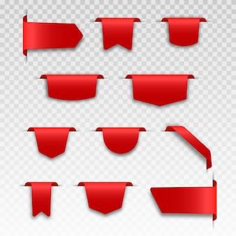 Rood leeg prijsetiket met transparante schaduw