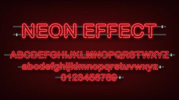 Rood licht neoneffect, engels alfabet en nummerteken