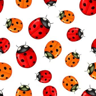 Rood lieveheersbeestje vector naadloos patroon