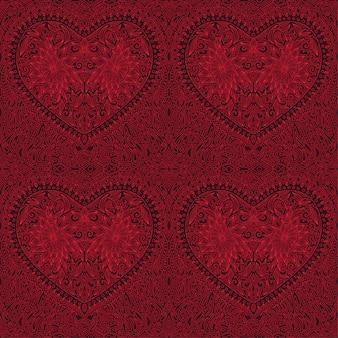 Rood lineair naadloos patroon met hartvorm