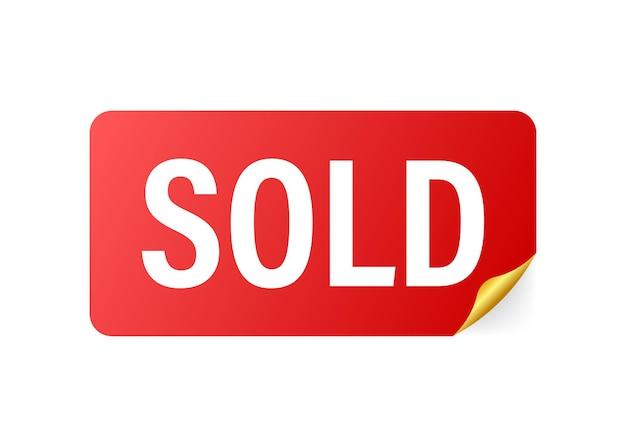 Rood lint verkocht op witte achtergrond. verkocht lint voor bannerontwerp. vector stock illustratie