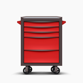 Rood metalen vooraanzicht gereedschapskast geïsoleerd