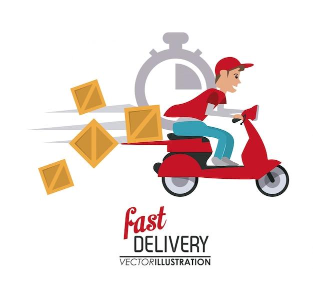 Rood motorfiets- en pakketpictogram
