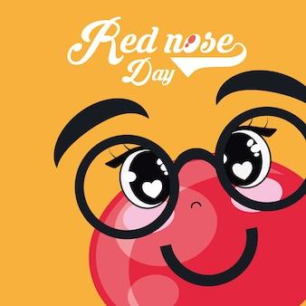 Rood neusdagontwerp met cartoon rode neus