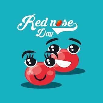Rood neusdagontwerp met cartoon rode neuzen