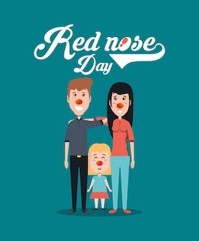 Rood neusdagontwerp met cartoonfamilie