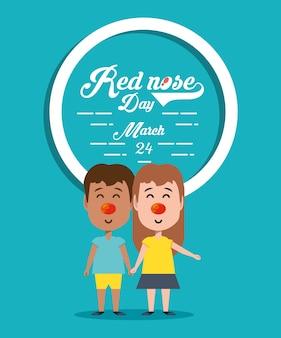 Rood neusdagontwerp met cartoonkinderen
