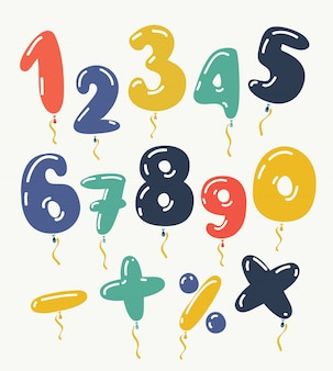 Rood nummer 1, 2, 3, 4, 5, 6, 7, 8, 9, 0 metalen ballon. feestdecoratie gouden ballonnen. verjaardag teken voor prettige vakantie, feest, verjaardag, carnaval, nieuwjaar. kunst