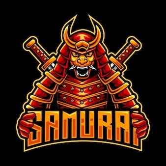 Rood omni samurai mascotte logo
