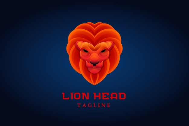 Rood oranje leeuwenkop mascotte gradiënt logo
