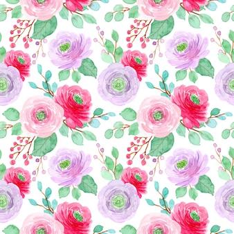 Rood paars bloem aquarel naadloze patroon