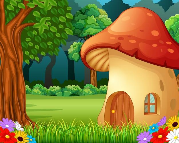 Rood paddestoelhuis op bos