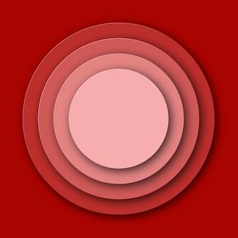 Rood papier gesneden cirkel achtergrond. illustratie.
