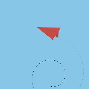 Rood papier vliegtuig met lijn manier achtergrond