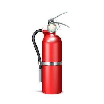 Rood realistisch brandblusapparaat dat op witte achtergrond wordt geïsoleerd