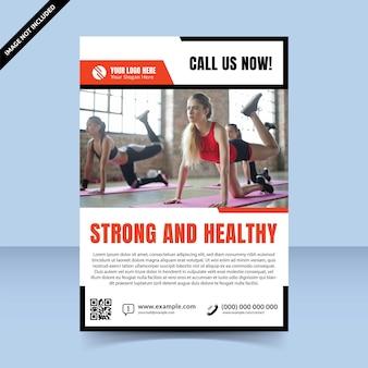 Rood, schoon, sterk en gezond fitness-sjabloonontwerp voor flyers