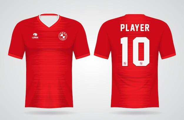 Rood sportshirt sjabloon voor teamuniformen en voetbal t-shirtontwerp