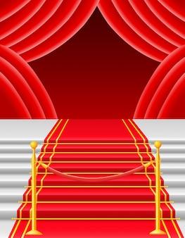 Rood tapijt met turnstile vectorillustratie