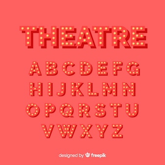 Rood theater gloeilamp alfabet