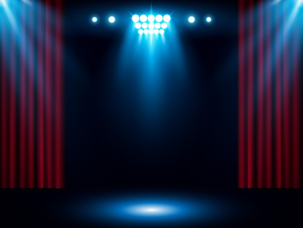 Rood toneelgordijn met blauwe schijnwerper