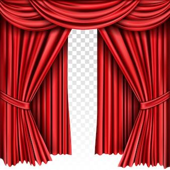 Rood toneelgordijn voor theater, operascène drapeert