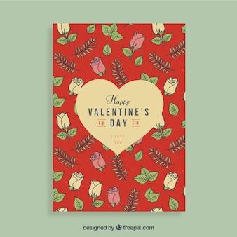 Rood valentijnskaart flyer ontwerp