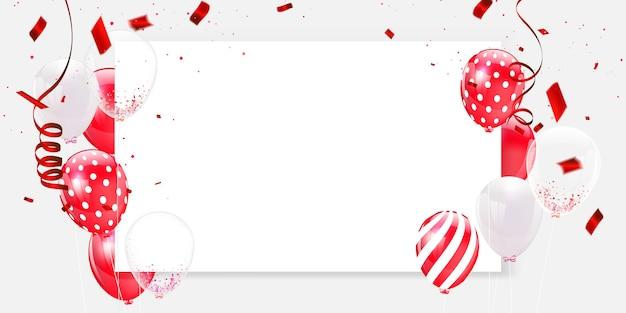 Rood wit ballonnenframe en confetti