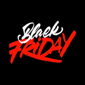 Rood-witte inscriptie op een zwarte achtergrond - black friday - in belettering stijl. idee te koop. vector illustratie.
