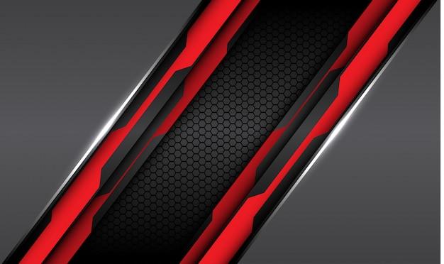 Rood zwart circuit lijn grijs metallic met donkere zeshoek mesh achtergrond.