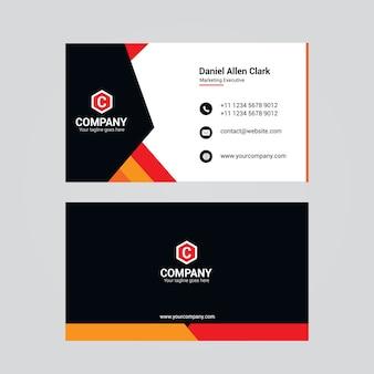 Rood, zwart en oranje visitekaartje ontwerp