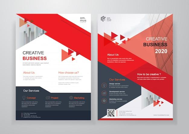 Rood zwart vorm zakelijke tweevoudige brochure of flyer