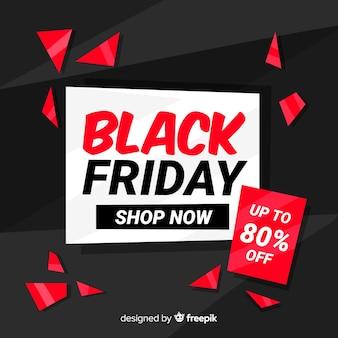 Rood zwart vrijdag in plat ontwerp