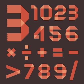 Roodachtig plakbandlettertype (arabische cijfers)