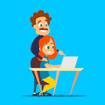 Roodharig meisje studeert met een privéleraar op een laptop. cartoon illustratie van modern leren.