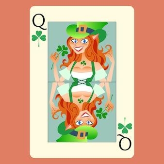 Roodharige elphicke speelkaart koningin st. patrick dag