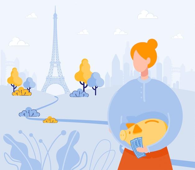 Roodharige meid, droomt ervan parijs op een dag te bezoeken.
