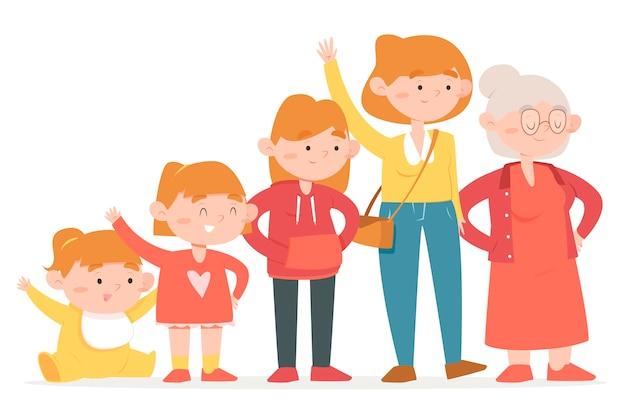 Roodharige meisje in verschillende leeftijden van haar leven