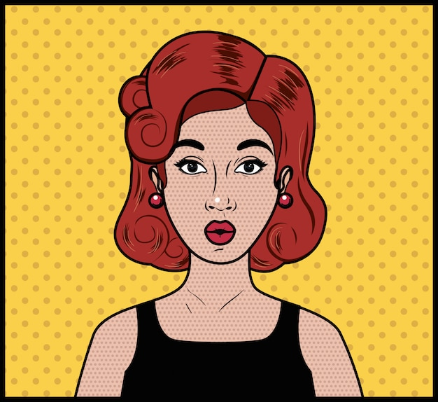 Roodharige vrouw pop-art stijl
