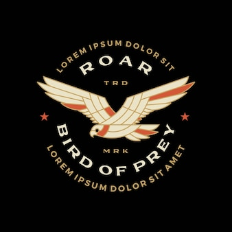 Roofvogel zwarte havik adelaar vliegen gebrul ster badge logo vector pictogram illustratie