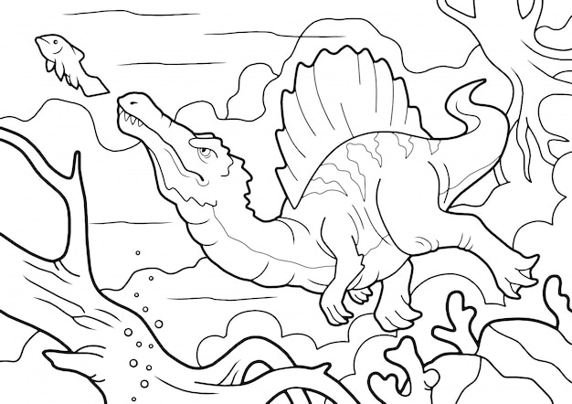 Roofzuchtige dinosaurus spinosaurus, jaagt onderwater, kleurboek, grappige illustratie