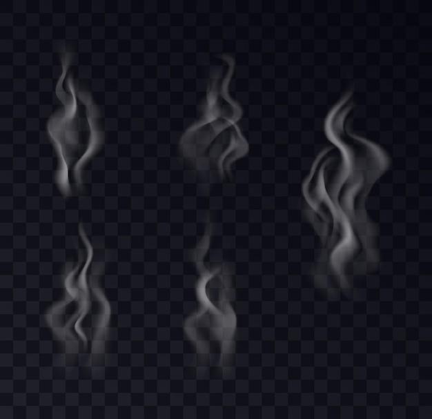 Rook realistische collectie op transparante achtergrond. set van witte dampstoom, golven van koffie, thee, sigaretten, warm eten. 3d mist en misteffect. vector illustratie