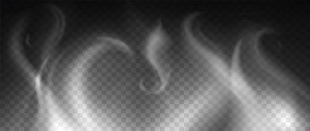 Rook realistische textuur vectorillustratie. realistisch gas, mist, nevel of damp natuurlijk effect geïsoleerd op donkere transparante achtergrond. witte stoomwolk van hete koffie, thee, sigaret of vape.