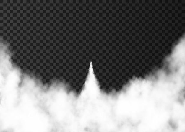 Rook van de lancering van de ruimteraket. mistige trail geïsoleerd op transparante achtergrond. mist. realistische vectortextuur.