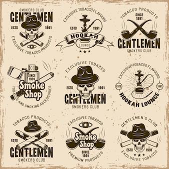 Rookvrije gentlemen's club, rookwinkel en tabaksproducten set vector emblemen